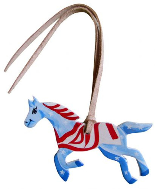 Red, White, and Blue Hand Painted Tie on Horse.