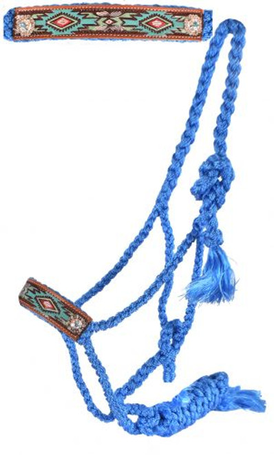 Showman® Woven baby blue nylon mule tape halter with hand painted aztec noseband.