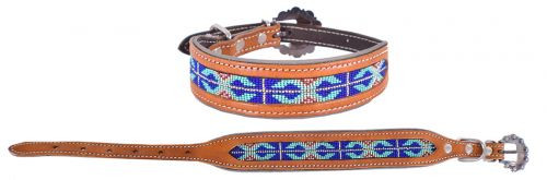 Showman Couture ™ Genuine leather dog collar with a royal blue beaded inlay.
