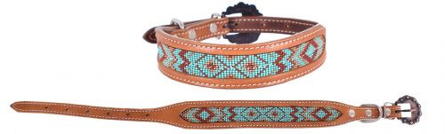Showman Couture ™ Genuine leather dog collar w/beaded inlay.