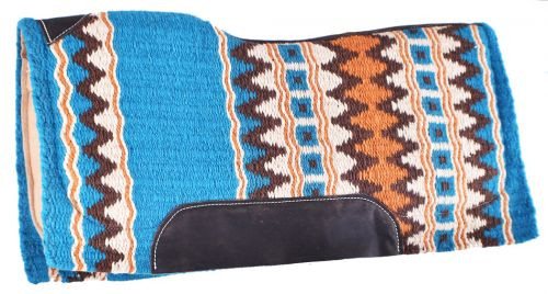 "Showman® 34"" x 36"" Turquoise memory felt bottom saddle pad."