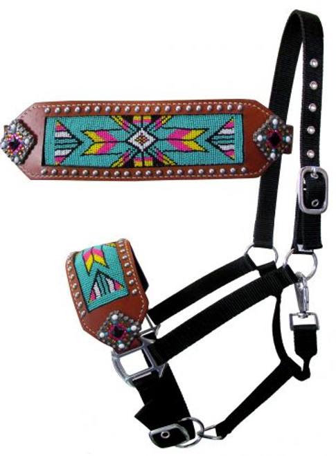 Showman ® Nylon bronc halter with beaded design.
