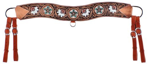 Showman ® Floral tooled tripping collar with cowhide inlay.