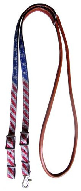 Showman ® 8ft Red, White, and Blue Glitter leather contest reins.