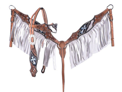 Showman ® Silver hand painted browband headstall and breast collar set.