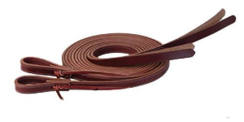 """Showman ® 8ft X 5/8"""" Double stitched leather split reins with split poppers on the end."""