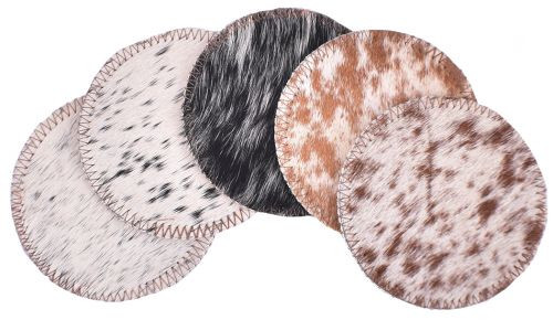 Salt and Pepper Cowhide Coasters. Sold individually.