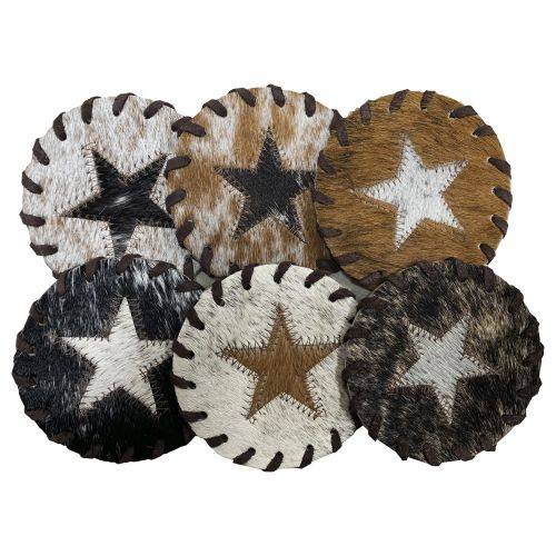 Texas Star Cowhide Coasters. Sold individually.