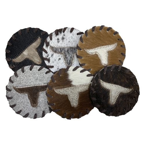 Texas Longhorn Cowhide Coasters. Sold individually.