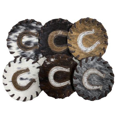 Horseshoe Cowhide Coasters. Sold individually.