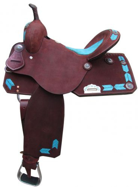 "15"", 16"" Circle S Barrel Style Saddle with turquoise leather laced arrow trim."
