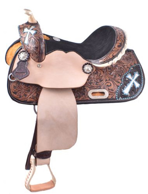 """13"""" Double T  Barrel style saddle with hand painted cross design."""