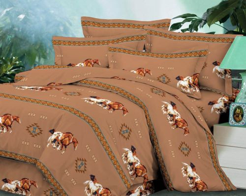 4 piece Queen Size Tan Running Horse Luxury Comforter Set.