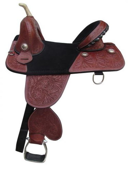 """16"""" Double T Treeless Saddle with floral tooling."""