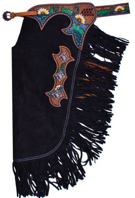 Showman ® Black suede leather chinks with hand painted sunflower and cactus design.