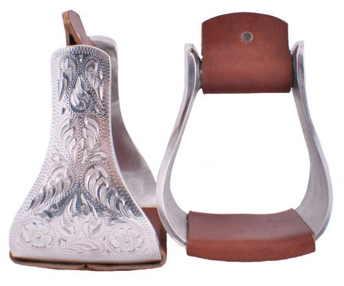 Showman ® Polished Aluminum Engraved Bell Stirrups.
