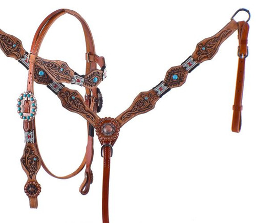 Showman ® Turquoise and Red Beaded Headstall and Breastcollar Set with tribal tooling.