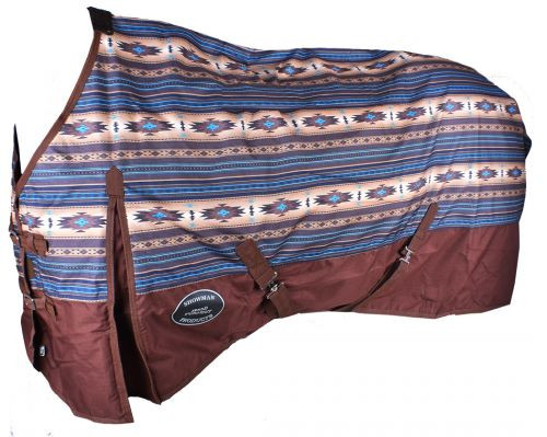 Showman ® Brown and Turuquoise Southwest Print 1200D Waterproof and Breathable Turnout Sheet.