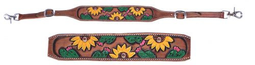 Showman ® Hand painted sunflower and cactus wither strap.