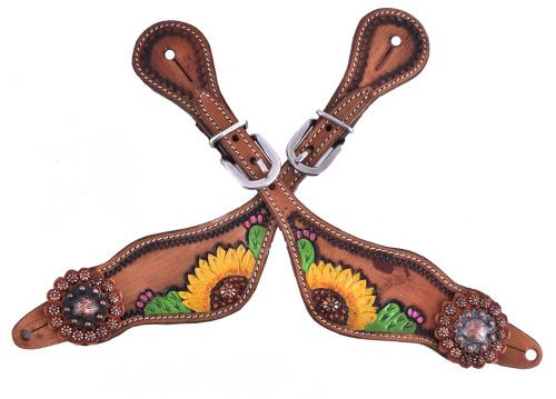 Showman ® Ladies Hand painted sunflower and cactus design spur straps.