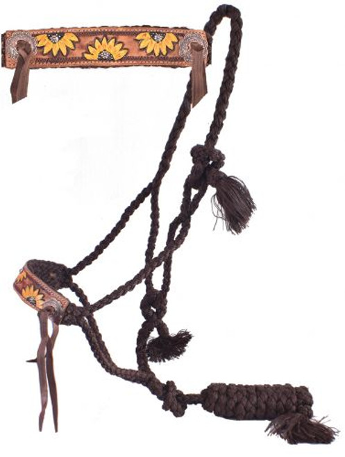 Showman® Woven brown nylon mule tape halter with hand painted sunflower noseband.