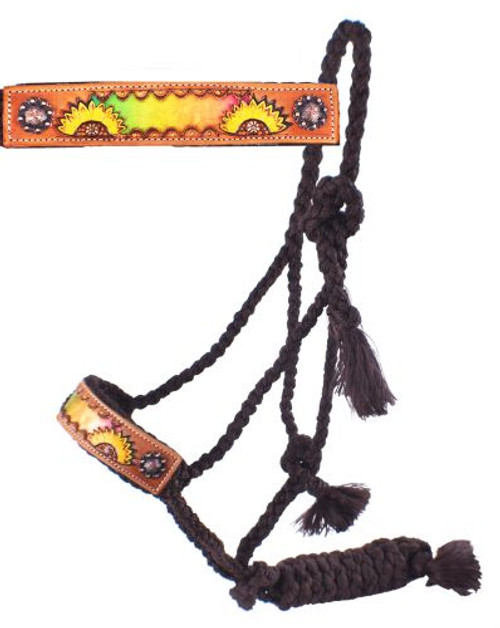 Showman® Woven brown nylon mule tape halter with hand painted sunflower and multi colored metallic inlay noseband.