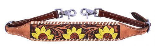 Showman ® Ladies Hand painted sunflower design wither strap.