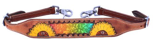Showman ® Ladies Hand painted sunflower wither strap with multi colored metallic inlay.