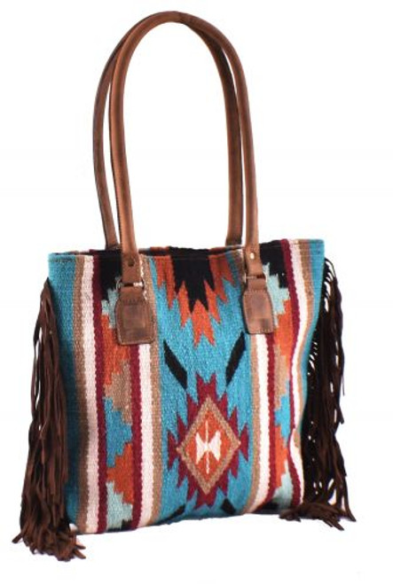 Genuine Leather Teal and Orange Saddle Blanket Handbag with Fringe.