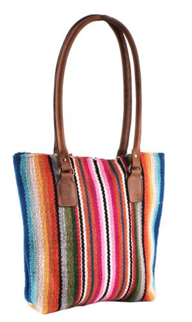 Genuine Leather 100% Wool Serape Saddle Blanket Handbag.