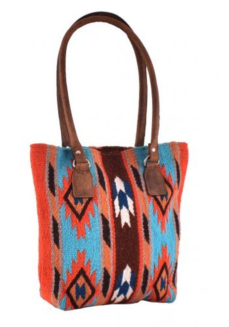 Genuine Leather 100% Wool Teal and Orange Saddle Blanket Handbag.