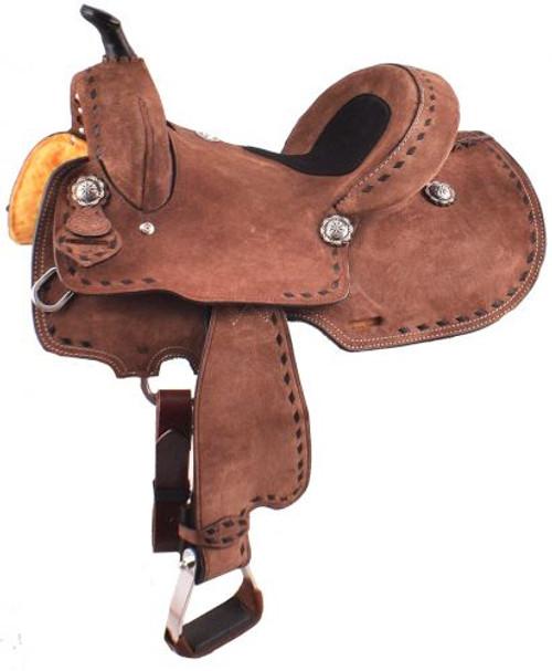 "12"", 13"" Double T  Youth/Pony Chocolate Roughout Barrel Saddle."