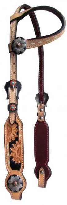 Showman ® Argentina cow leather single ear headstall with sunflowers.