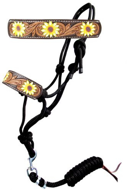 Showman ® Hand Painted Sunflower rope halter with leather nose.