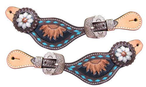 Showman ® Ladies Sunflower Tooled Spur Straps with turquoise buckstitch trim.