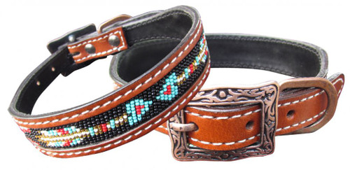 Showman Couture ™ Genuine leather dog collar with a beaded arrow inlay.