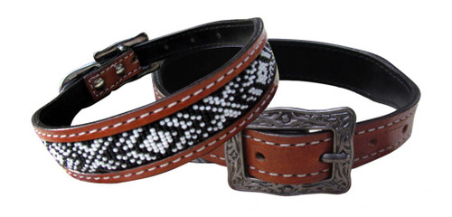 Showman Couture ™ Genuine leather dog collar with black and white beaded inlay.