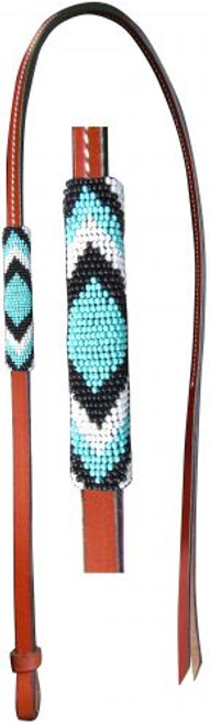 Showman® 4ft Leather over & under whip with teal, black, and white beaded overlay.