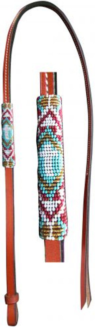Showman® 4ft Leather over & under whip with teal, red, and gold cross designed beaded overlay.