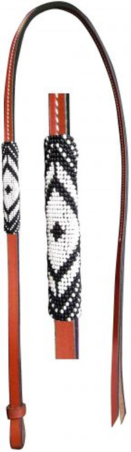 Showman® 4ft Leather over & under whip with black and white beaded overlay.