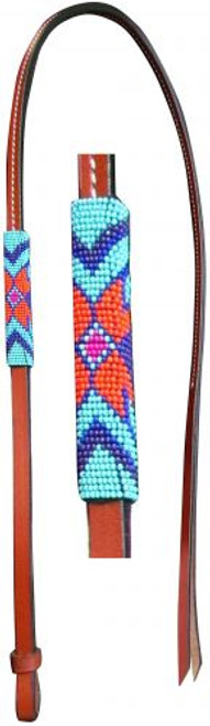 Showman® 4ft Leather over & under whip with teal, purple, and orange beaded overlay