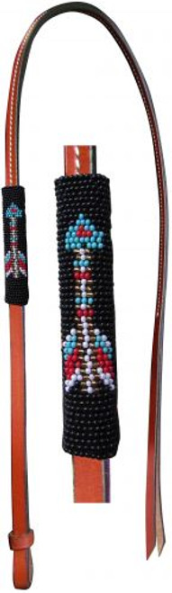 Showman® 4ft Leather over & under whip with arrow design beaded overlay.
