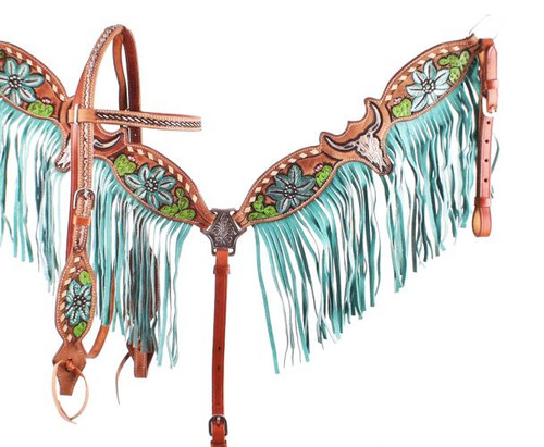 Showman ® Hand Painted Steer Skull and Cactus Headstall and Breast collar Set.