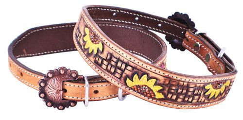 Showman Couture ™ Hand Painted Sunflower leather dog collar with copper buckle.