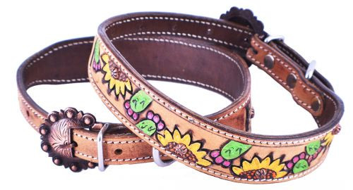 Showman Couture ™ Hand Painted Sunflowers and Cactus leather dog collar with copper buckle.
