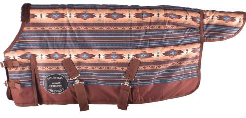 """PONY/WEANLING 42""""-46""""  Waterproof and Breathable Showman ® Brown and Turquoise Southwest Print 1200D Turnout Blanket."""