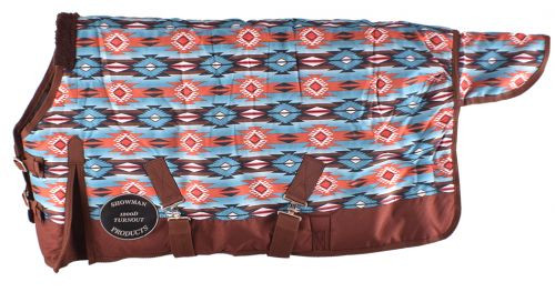 """PONY/YEARLING 48""""-54""""  Waterproof and Breathable Showman ® Orange and Turquoise Southwest Print 1200D Turnout Blanket."""