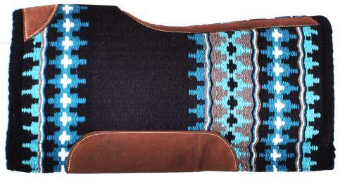 """Showman® 34"""" x 36"""" Black and Turquoise memory felt bottom saddle pad."""