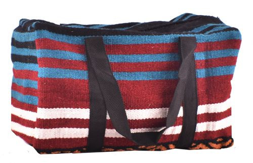 Showman ® Turquoise, Burgundy, and Black 100% Wool Serape Saddle Blanket Duffel Bag.