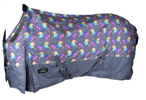 The Waterproof and Breathable Showman™ Unicorn Print 1200 Denier Perfect Fit Turnout Blanket.